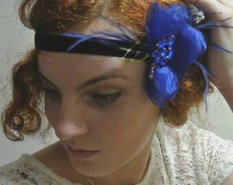 1920s Gatsby Headband Navy Blue Royal Blue Flower Headband  20's Headpiece Fascinator Flapper Headband with Feathers