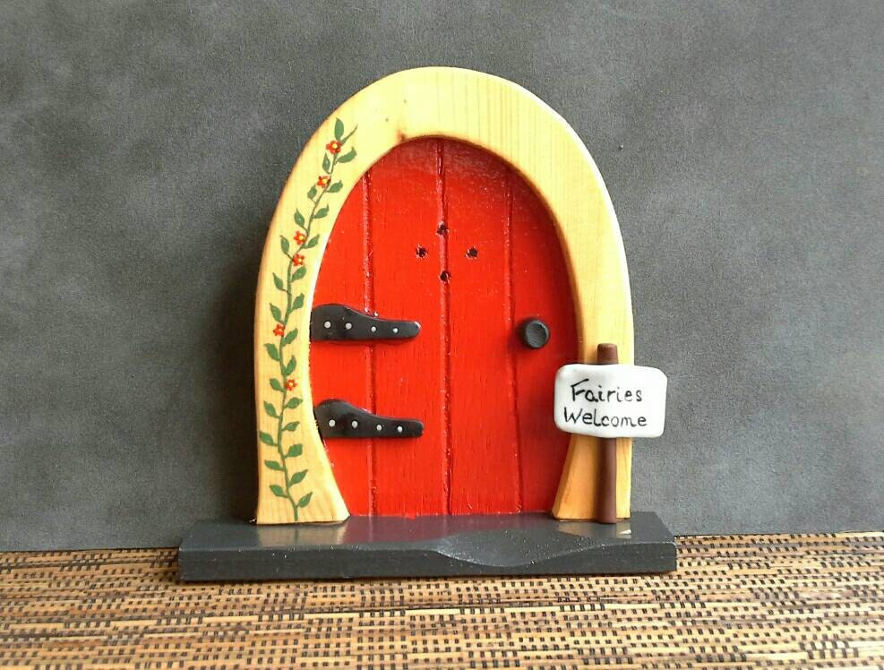 Wooden fairy door fairies welcome by handmadebycarolynmee for Wooden fairy doors