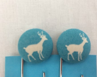 White Deer on Turquoise Covered Button Giant Paperclip, Bookmark, Organizer Clip