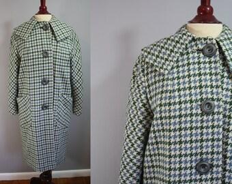 1960's Peacoat // Green Argyle // Large