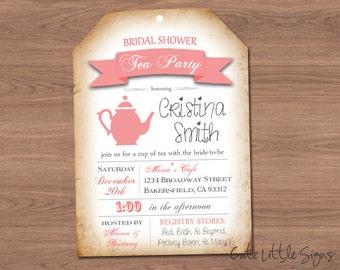 Bridal Shower Tea Invitation Digital Download