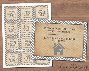 House Warming Labels and 5x7 Card Digital Download