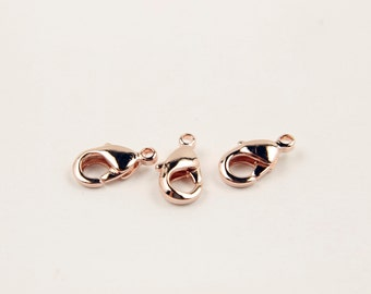 Lobster clasp, J4-P1, 50 pcs, 9x5mm, 901, Small lobster clasp, Rose gold plated brass, Not easily tarnish, GY02-03