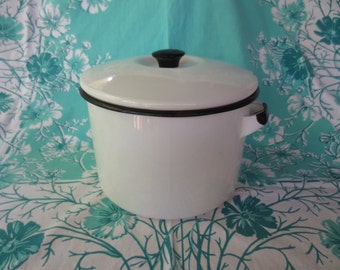 NEW PRICE White Enamelware Pot with Lid and black trim