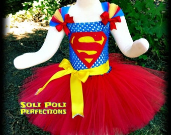 SuperGirl Costume, Red Tutu, Super Girl Tutu, Superman Tutu, Superman Costume, Halloween Costume, Red Tutu Dress, Superman Tutu Set,