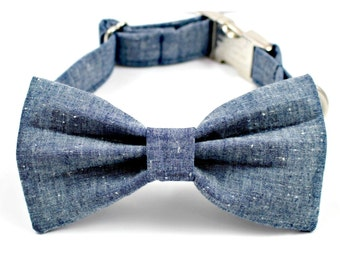 Blue Denim Silver Chrome Dog Collar Small Medium Large with Bow Tie Accessory