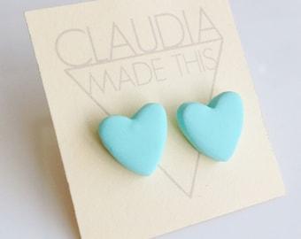 Mint Heart Earrings, Mint Heart Studs, Valentines Gifts for her, Mint Earrings, Mint Studs, Mint Bridesmaid Earrings, Cute pastel Earrings