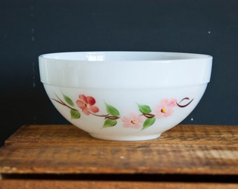 "Vintage Fire King Peach Blossom Bowl ""Gay Fad"" Hand Painted Fruit Bowl, Pink Flower, Mixing Bowl, Cottage Chic"