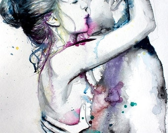 Couple portrait watercolor art print. Wall art, wall decor, digital print.