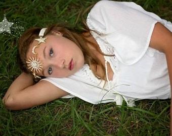 hippie head bands -Hippie hair accessories - Hippie headbands for women - headband gold - sun moon stars - tribal headband - headband bridal