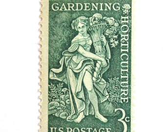 10 Unused Gardening Stamps // Vintage 1958 Green Gardening Postage Stamps // Set of 10