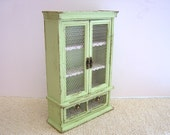 Dollhouse miniature Shabby Kitchen larder cabinet in green