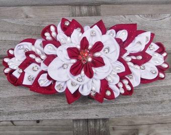 Elegant Valentine Bridal Red and White Kanzashi Hair bow