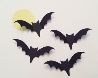 25  Large Black Bat, Die Cut Black Bat, Bat Birthday, Halloween Die Cut, Halloween Wedding, 3 7/8 inch wide wingspan
