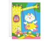 Kitten on swing screenprinted card