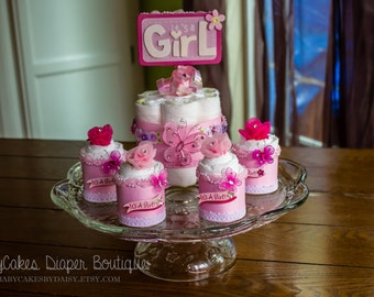 It's a Girl Diaper Cake Centerpiece, Baby Girl Diaper Cake Centerpiece, Baby Shower Centerpiece, It's a girl, Diaper Cake