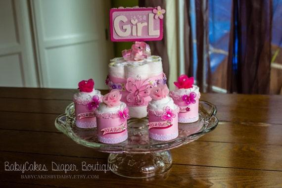 It's a Girl Diaper Cake Centerpiece, Baby Girl Diaper Cake Centerpiece, Baby Shower Centerpiece, It's a girl, Diaper Cake