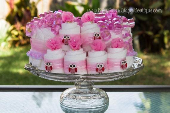 Pink Owl Baby Shower Diaper Cake | Centerpiece set with Mini Diaper Cupcakes | Owl Baby Shower Cake | Pink Owl Baby Shower | Diaper Cake