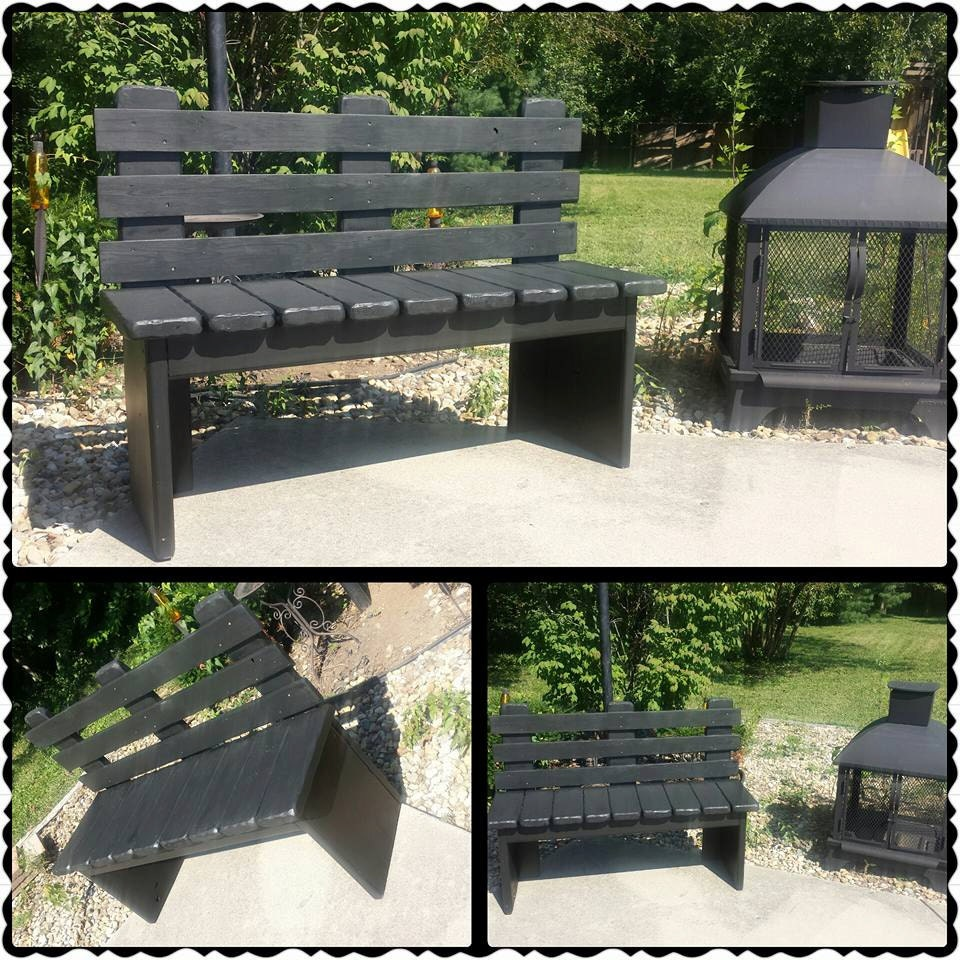 Kettle black solid wood bench with back 16x48x36 porch garden for Outdoor bench with back