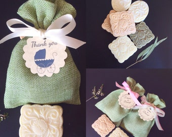 50 SOAP + GREEN Burlap Bag Wedding Favors, BABY Shower Soap Favors, Bridal Shower Favors, Spring & Summer Weddings, Handmade Soap,