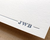 Letterpress Mens Modern Monogram Stationery, Set of 50, paper, first anniversary, thank you, traditional, husband, coworker, gift, note card