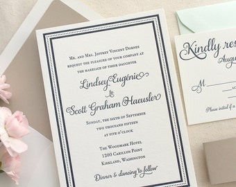 The English Garden Suite - Classic Letterpress Wedding Invitation Sample, Navy Blue Border, Shimmer Taupe Belly Band, Traditional, Formal