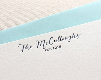 Letterpress Couples Personalized Stationery, Set of 50 or more Custom Flat Note Cards, anniversary, thank you, wedding gift, newlyweds, S120