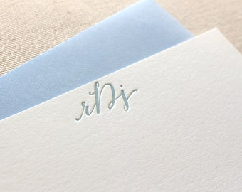 Letterpress Monogram Calligraphy Personalized Stationery, Set of 25 or more, note card, anniversary, coworker, wedding gift, bridesmaid S146