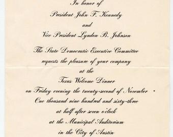 President John F. Kennedy, Welcome to Texas banquet invitation, Austin, Texas, November 22, 1963, Kennedy Assassination