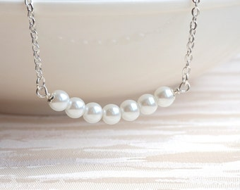 Pearl bar necklace, White Bridesmaid necklace, Bridesmaid Jewelry White Barnecklace Bride Gift Bar Necklace