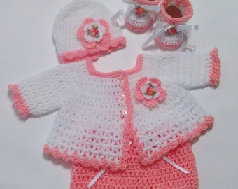 Crochet Baby Girl White/Peach Sweater Set with Hat and Booties Perfect for Baby Shower Gift or Bring Baby Home Outfit