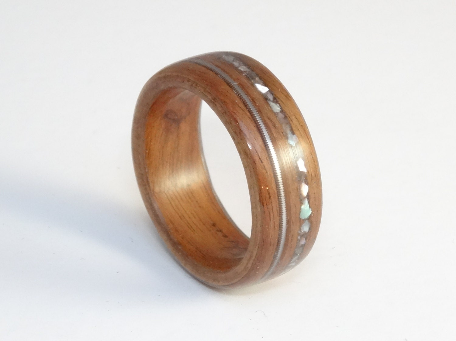 wood ring rosewood with guitar string abalone mens wood. Black Bedroom Furniture Sets. Home Design Ideas