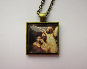 Square Glass Dome Pendant with Vintage Angels Graphic,Stylish Chain, Stylized Art, Vintage Angels, Christmas Gift, Winter Jewelry