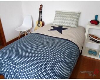 Boys Bedding Single Duvet / Quilt Cover Set in Navy Stars and Chevron