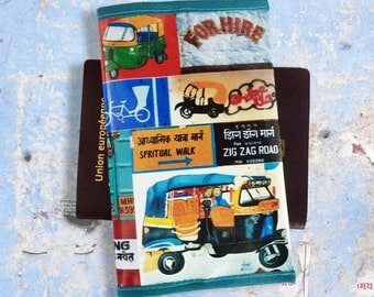 Passport cover travel gift indian street art rickshaws in printed vinyl