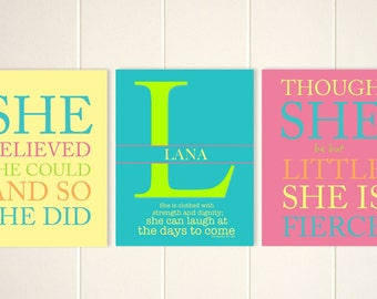 Girls inspirational wall art, baby girl nursery art, though she be but little, she believed she could, set of 3