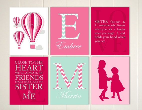 Items Similar To Sisters Wall Art Girls Shared Room Decor