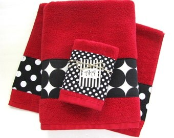 Red Black Bath Towels Bathroom towel bath towel hand towel