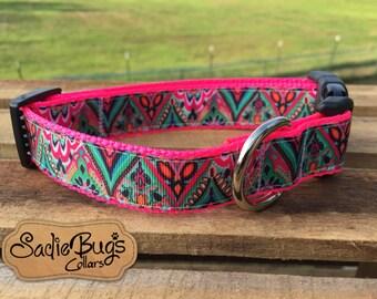 Aztec Tribal dog collar - geometric