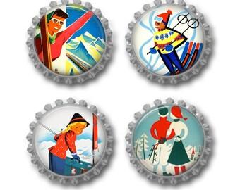 Ski magnets vintage ski poster bottle cap magnets ski gift. Set of 4.