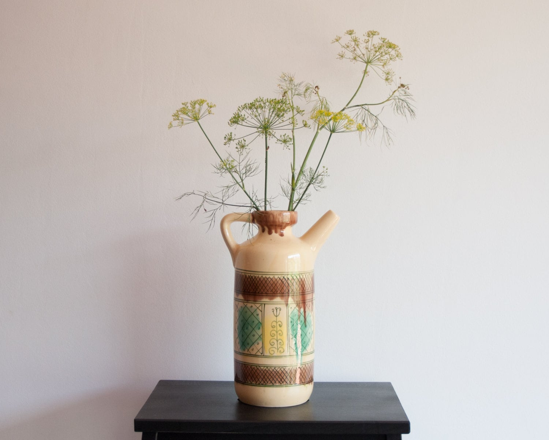 Large Ceramic Pitcher Decorative Vase Home Decor Citrine