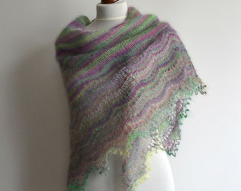 Lace shawl - hand knitted violet green shawl - triangular - kid mohair - handmade