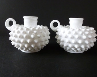 Vintage Pair Fenton White Milk Glass Hobnail Candle Holders