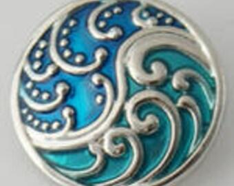 Blue & Aqua Waves - Snap It SKB6070 Popper Chunk Snap Button Interchangeable 18mm 20mm snap