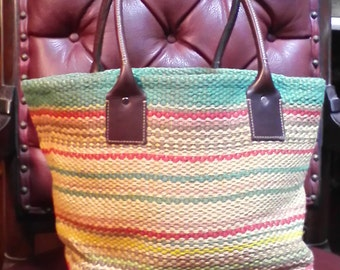 Vintage Burlap Like /Straw Bohemian  Market Bag 10x12  With Leather Handles