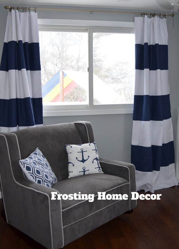 Custom white and navy striped curtains by frostinghomedecor