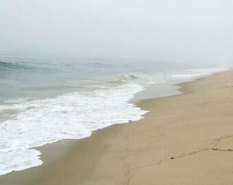Beach Photograph - Foggy Beach - Calm Waves - New York - Ocean Art - Seashore - Nautical - Misty - Nature -  Landscape