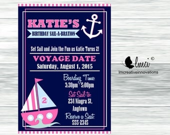 Nautical Girl's Birthday Invitation - Digital File