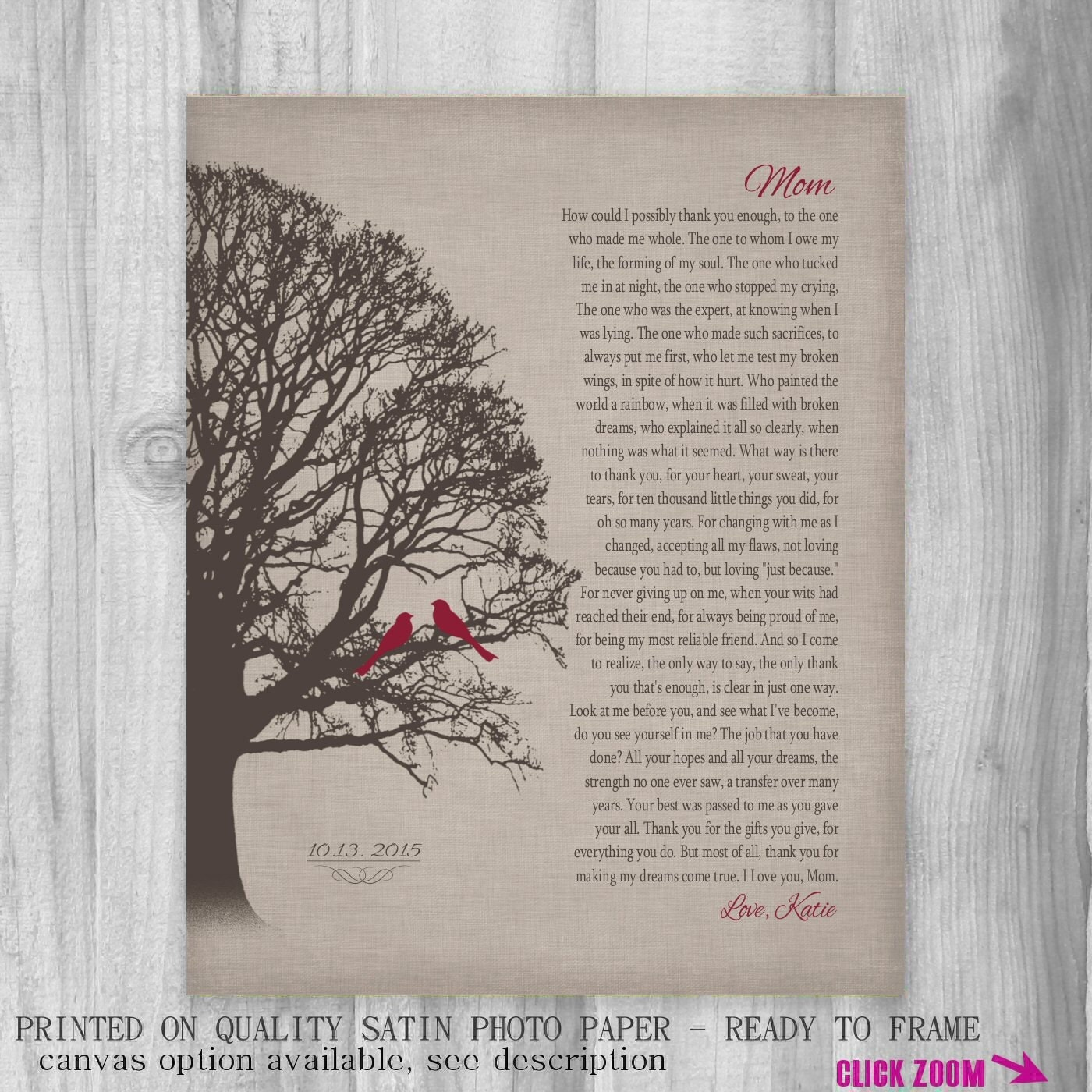 FROM DAUGHTER To Mom Personalized Gift Custom Print Heartfelt