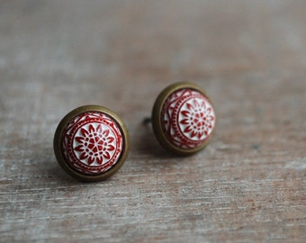 "Red mosaic """" Red and white Cabochon Earstuds // gifts for her // hostess gifts"